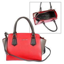 a13bbf2bd570 Двухцветная женская сумка на молнии со съемным регулируемым плечевым ремнем  на карабинах, высота ручек 13